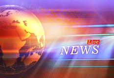 Globo gráfico de Live News Background With Earth no lado esquerdo Imagens de Stock Royalty Free