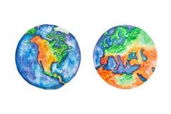 Globo Ilustração da aquarela da terra America do Norte do planeta e os continente e os continentes de Europa Fotografia de Stock