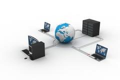 Globo intorno con il server del computer portatile Royalty Illustrazione gratis