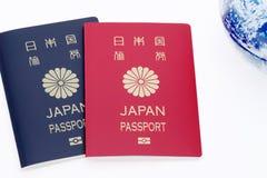 Globo japonés del pasaporte y de la tierra Fotografía de archivo libre de regalías