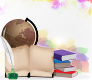 Globo, libri e piuma Fotografie Stock