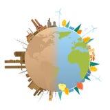 Globo limpio y contaminado del planeta de la tierra Imagenes de archivo
