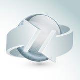 Globo lucido con la freccia 3D per l'affare Fotografia Stock Libera da Diritti