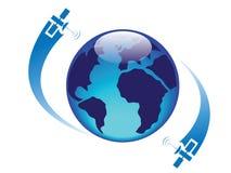 Globo lustroso com satélites Imagens de Stock Royalty Free