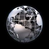 Globo metálico de la tierra Imágenes de archivo libres de regalías