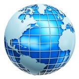 Globo metallico blu della terra Fotografia Stock Libera da Diritti