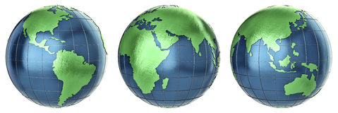 Globo metallico della terra fotografie stock
