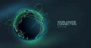 Globo mondiale di vettore dell'estratto del collegamento Linea di tecnologia di telecomunicazione con la traiettoria dei dati di  illustrazione vettoriale