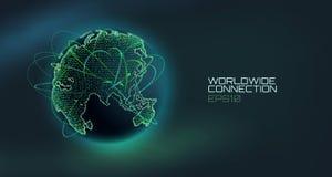 Globo mondiale di vettore dell'estratto del collegamento Linea di tecnologia di telecomunicazione con la traiettoria dei dati di  illustrazione di stock
