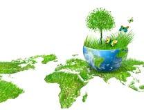 Globo na grama verde imagem de stock royalty free