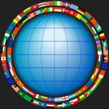 Globo nel telaio delle bandierine Immagine Stock Libera da Diritti
