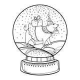 Globo o bola de nieve de la nieve del esquema del vector con los copos de nieve que caen y el cerdo lindo en negro aislados en bl stock de ilustración