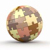 Globo o sfera dai puzzle su priorità bassa bianca Fotografie Stock