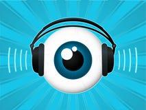 Globo ocular com auscultadores ilustração stock