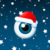 Globo ocular Santa no fundo nevando ilustração do vetor