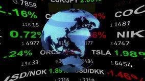 Globo olográfico de la tierra de las noticias y del hud de la cinta del tablero del teletipo del mercado de acción de las divisas stock de ilustración