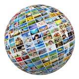 Globo, palla con le varie immagini della gente, natura, oggetti, posti Immagini Stock