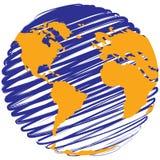 Globo - pianeta Terra stilizzato Fotografia Stock Libera da Diritti