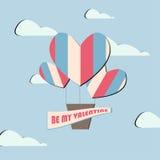 Globo plano de la tarjeta del día de San Valentín del vintage del vector Fotografía de archivo