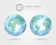 Globo poligonal del vector mapa del mundo triangular 3D de stock de ilustración