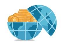 Globo por completo del ejemplo de oro del vector de las monedas ilustración del vector