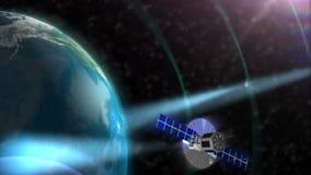 Globo por satélite de la tierra de la órbita del espacio stock de ilustración