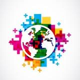 Globo positivo del mondo Immagine Stock