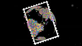 Globo postale di progettazione della terra del bollo royalty illustrazione gratis