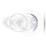 Globo punteggiato del mondo con costruzione astratta, binari di raccordo e punti, molecole su fondo bianco molecola Fotografie Stock Libere da Diritti
