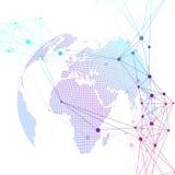Globo punteggiato del mondo Fondo geometrico scientifico con i binari di raccordo ed i punti Collegamento di rete globale Grandi  Fotografia Stock