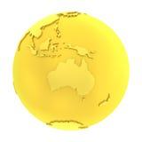 globo puro do ouro da terra 3D dourada Fotografia de Stock
