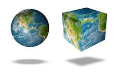 Globo quadrato della terra Fotografia Stock Libera da Diritti