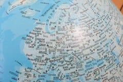 Globo que muestra Europa Imágenes de archivo libres de regalías