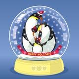 Globo que nieva con la familia de tres pingüinos dentro ilustración del vector