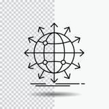 globo, rede, seta, notícia, linha mundial ícone no fundo transparente Ilustra??o preta do vetor do ?cone ilustração stock