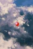 Globo rojo con el sobre de la letra de amor que flota en el cielo Fotos de archivo