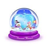Globo Romance della neve del pupazzo di neve Fotografia Stock