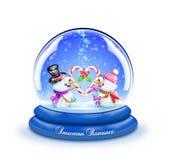 Globo Romance della neve della canna di caramella del pupazzo di neve Fotografia Stock Libera da Diritti
