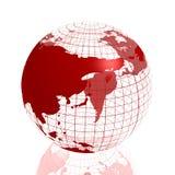 Globo rosso dell'Asia 3d Immagini Stock
