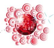 Globo rosso della discoteca Immagine Stock