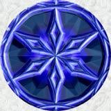 Globo rotondo del cerchio della sfera blu della palla con la stella ornamentale illustrazione vettoriale