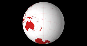 Globo sólido giratorio, hemisferio meridional con longitud y líneas de la latitud almacen de video