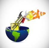 Globo sob o projeto da ilustração da construção Imagens de Stock