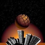 Globo sobre la ciudad stock de ilustración