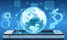 Globo sobre o telefone o mundo inteiro no telefone Imagem de Stock Royalty Free