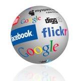 Globo social de la insignia de los media Fotos de archivo libres de regalías