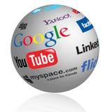 Globo social de las insignias de los media Imagen de archivo libre de regalías
