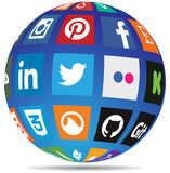 Globo social dos meios Foto de Stock