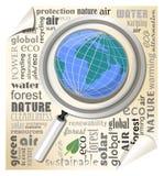 Globo sotto una lente d'ingrandimento Opuscolo con gli elementi tipografici nel campo di ecologia e dell'ambiente Immagine Stock
