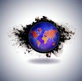Globo Tierra del planeta con textura de la acuarela en fondo del grunge Foto de archivo
